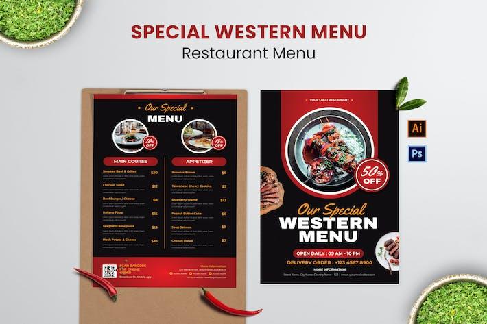 Western Food Menu