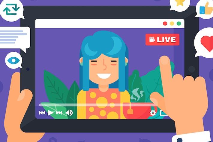 Thumbnail for Asiatische weibliche Web Streamer Illustration