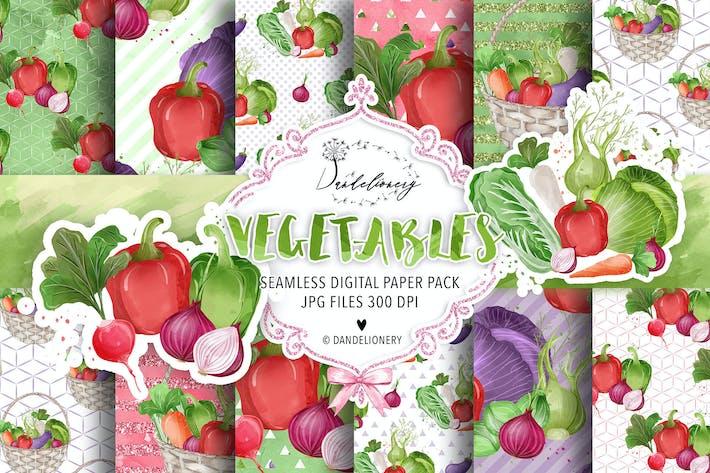 Thumbnail for Vegetables digital paper pack