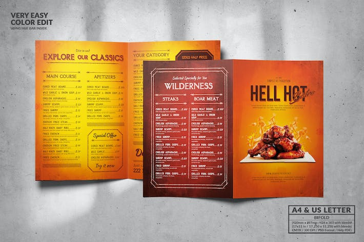Cover Image For Hell Hot Bifold Food Menu Design A4 & US Letter