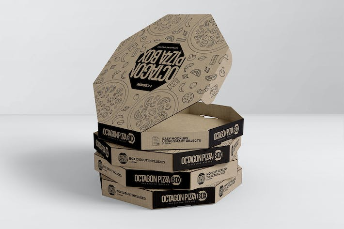 Thumbnail for Packaging Mockup Octagon Pizza Box
