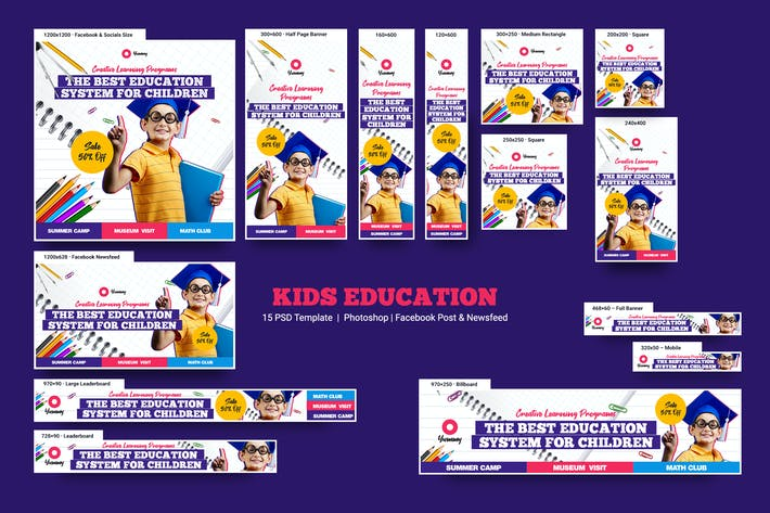 Kids Education Banners Ad