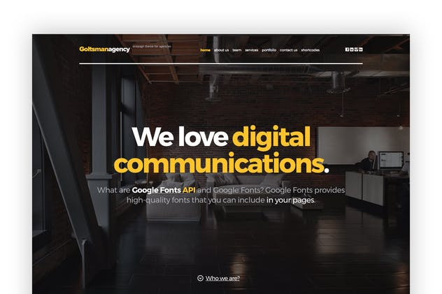 Goltsman Agency - One Page Responsive Template