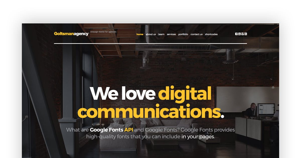 Download Goltsman Agency - One Page Responsive Template by tvdathemes