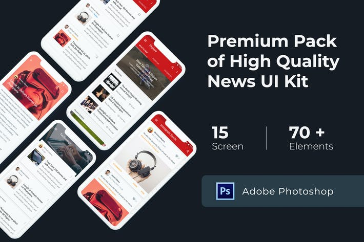Thumbnail for News & Media UI KIT for Photoshop