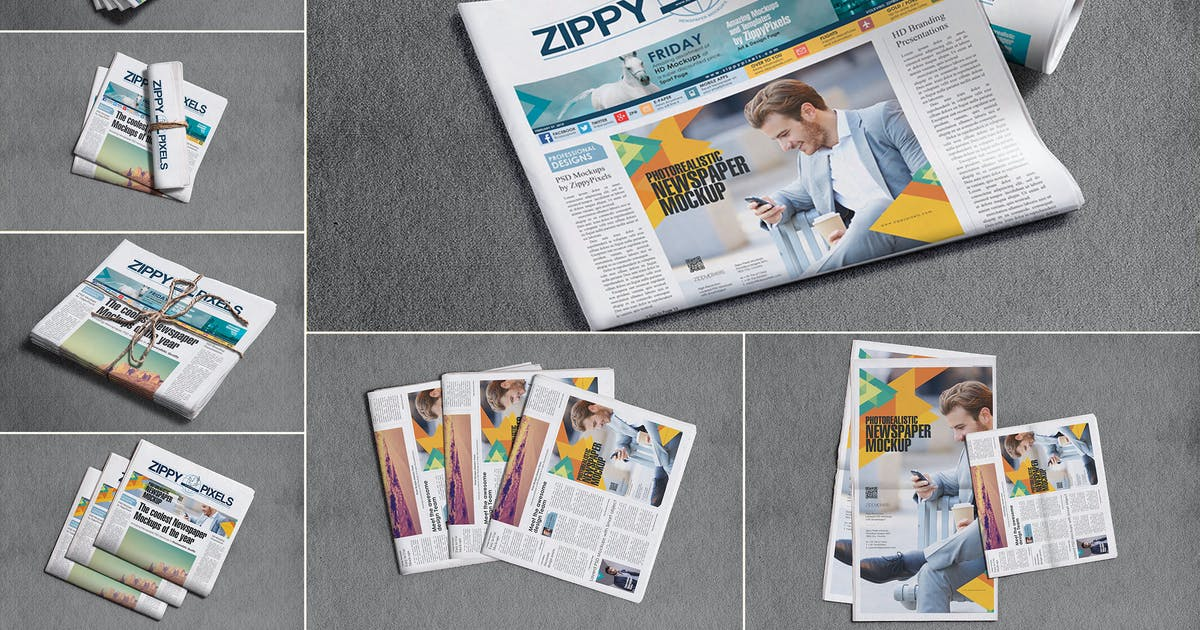 Download Broadsheet Newspaper Mockups by zippypixels