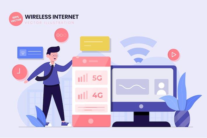 Thumbnail for Wireless Internet Flat Vector Illustration