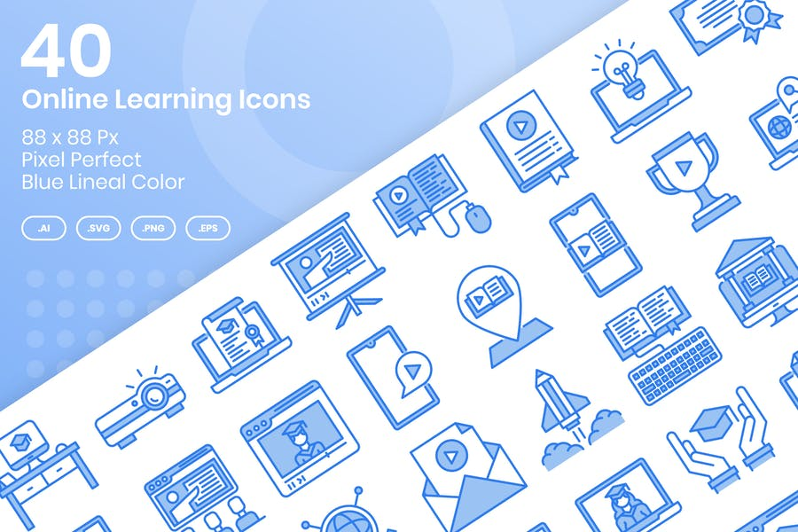 40 Online Learning Icons Set - Blue Lineal Color