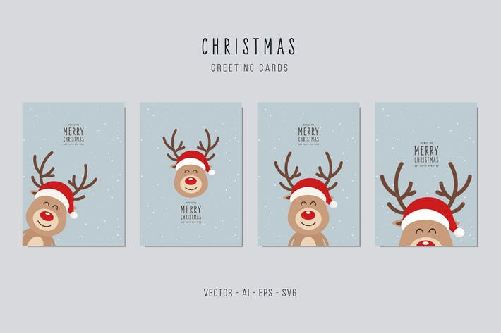 Thumbnail for Christmas Reindeer Vector Card Set