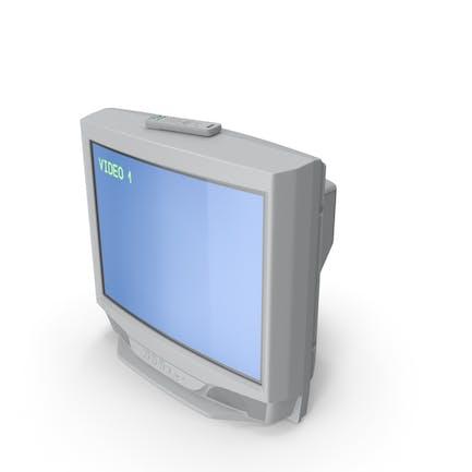 TV CRT vintage 00s con control de infrarrojos encendido