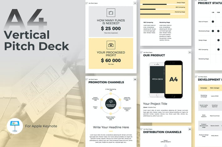 Thumbnail for A4 Pitch Deck Vertical Keynote Template