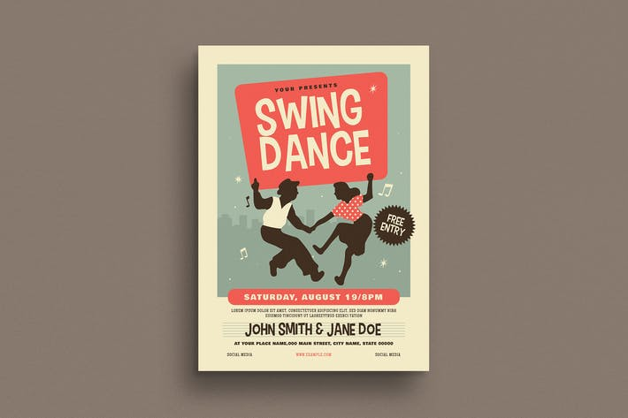 Thumbnail for Retro Swing Dance Event Flyer