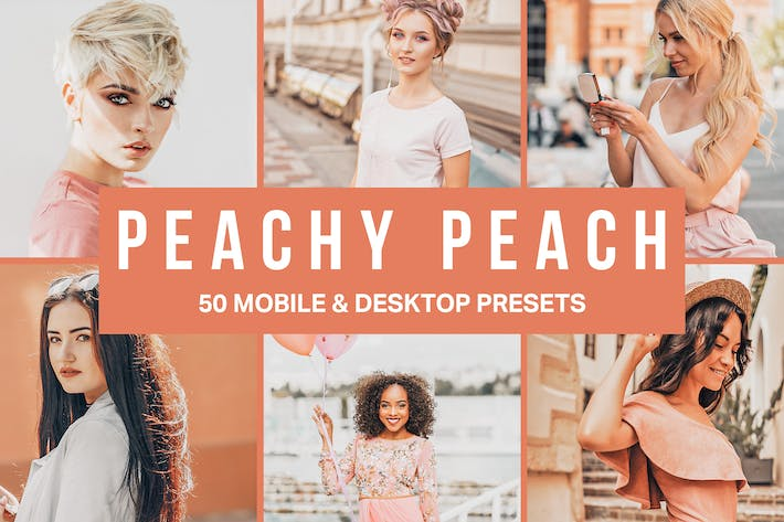 Thumbnail for 50 presintonías y LUTs de Peachy Peach Lightroom