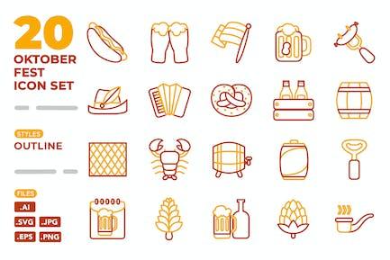Oktoberfest-Symbolsatz (Umriss)