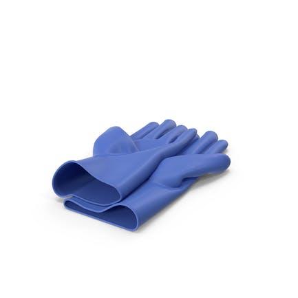 Blaue Haushalts-Handschuhe
