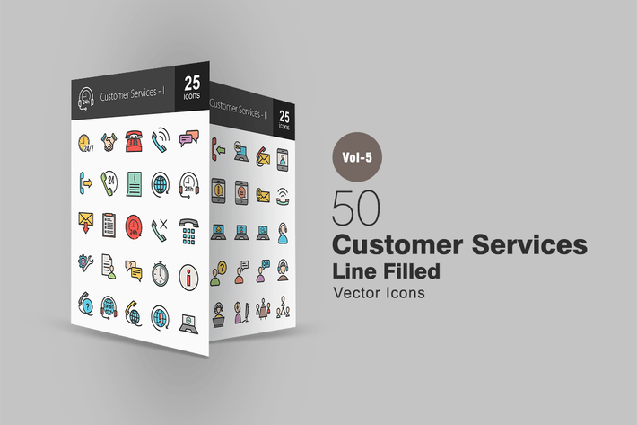 Thumbnail for 50 Customer Services Line Filled Icons