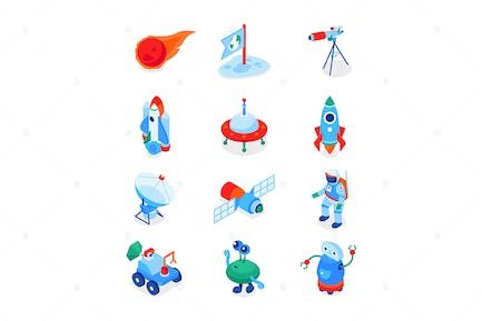Space Exploration - Colorful Isometric Icons