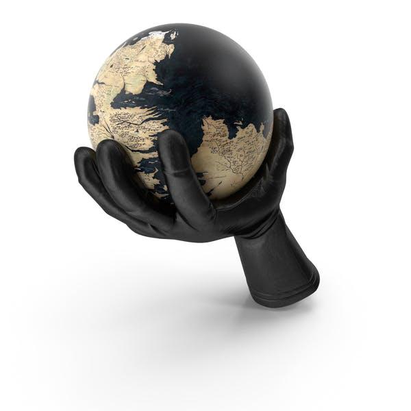 Handschuh mit einer Fantasy-Welt-Globus