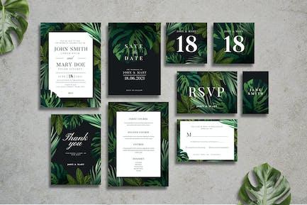 Tropische Hochzeitseinladungssuite