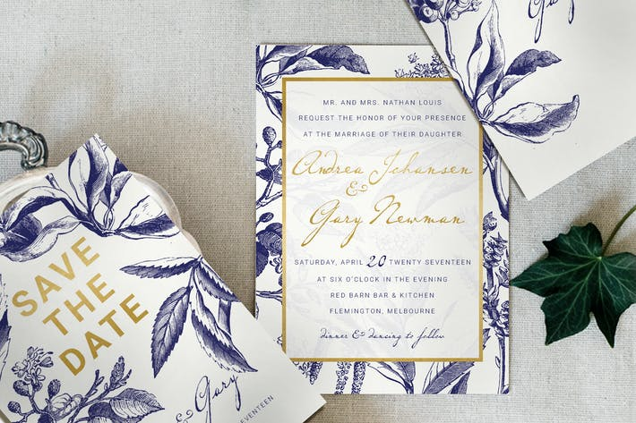 Thumbnail for Gold & Navy Wedding Invitation