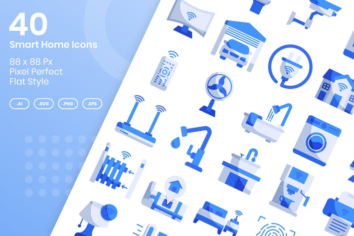 Thumbnail for 40 Smart Home Icons Set - Flat