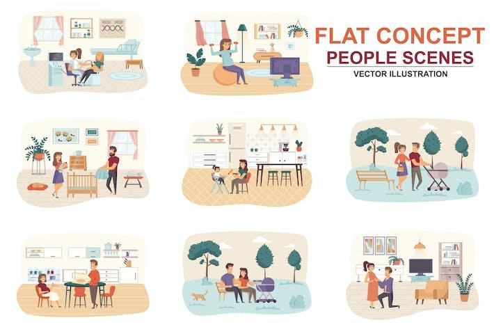 Thumbnail for Коллекция Беременность плоская концепция люди сцены