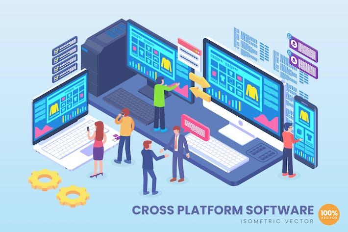 Thumbnail for Isometrische plattformübergreifende Software Vektor konzept