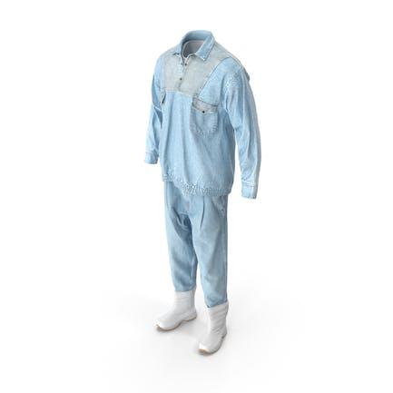Herren Jeans Pullover Stiefel Tshirt Weiß Blau