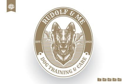 Dog Vintage Engraving Logo Template