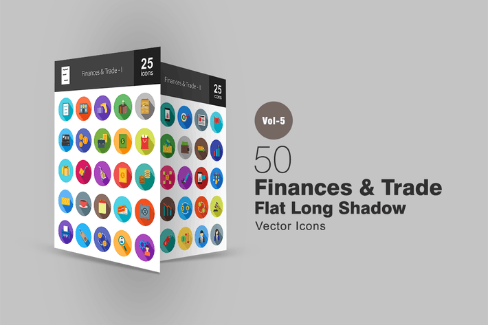 Thumbnail for 50 Finances & Trade Flat Shadowed Icons