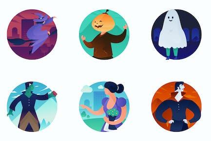 Halloween Curvy People Concept Illustrations