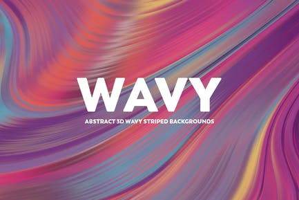 Abstract 3D Wavy Striped Backgrounds - Colorful