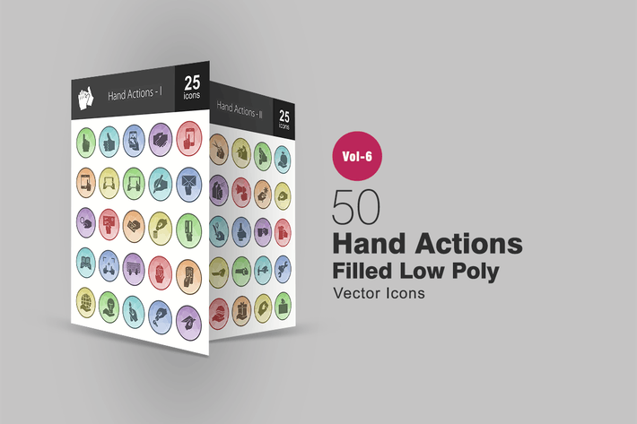 Thumbnail for 50 Hand Actions Filled Low Poly Icons