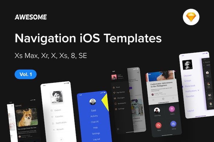 Thumbnail for Awesome iOS UI Kit - Navigation Vol. 1 (Sketch)