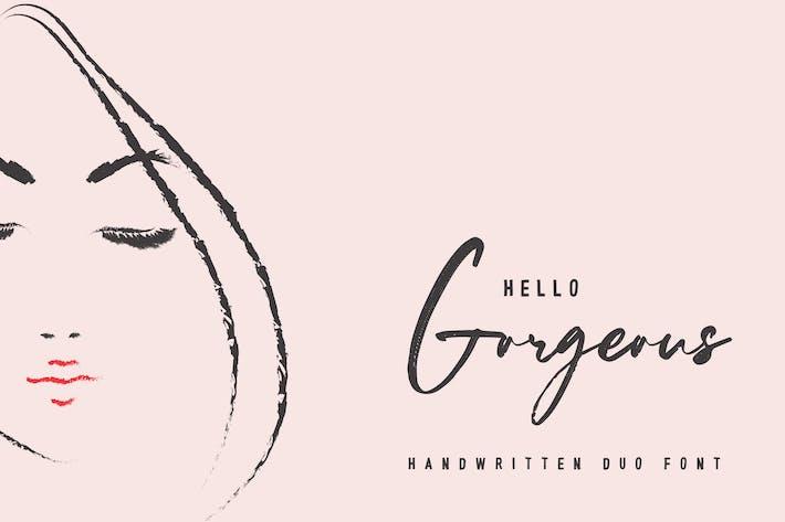 Hola Gorgeous - Duo de fuentes escritas a mano