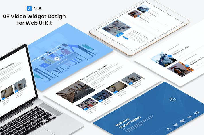 Thumbnail for 8 Videos Widget design for Web-UI Kit