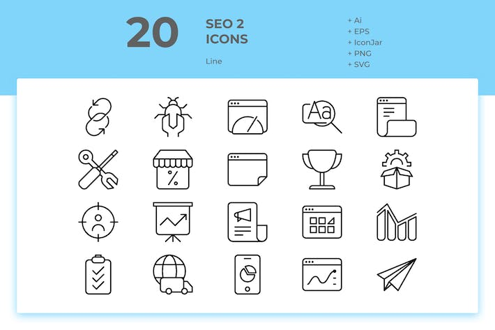 Thumbnail for 20 SEO Icons Vol. 2 (Line)