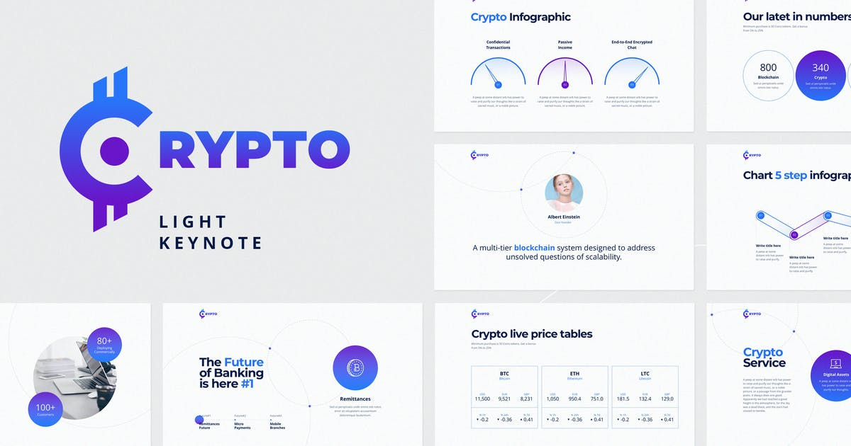 Download CRYPTO Keynote Light Template by ShapeSlide