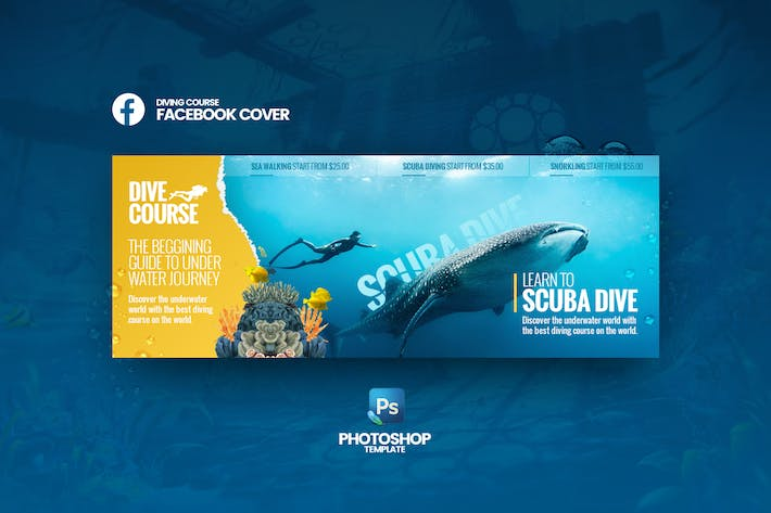 Cover Image For Dive Course Facebook Cover Template
