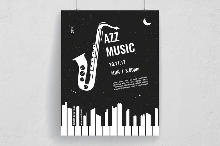 Thumbnail for Black and White Mono Jazz Music Event Flyer