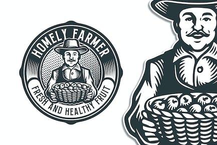 Homely Farmer Vintage Logo Template