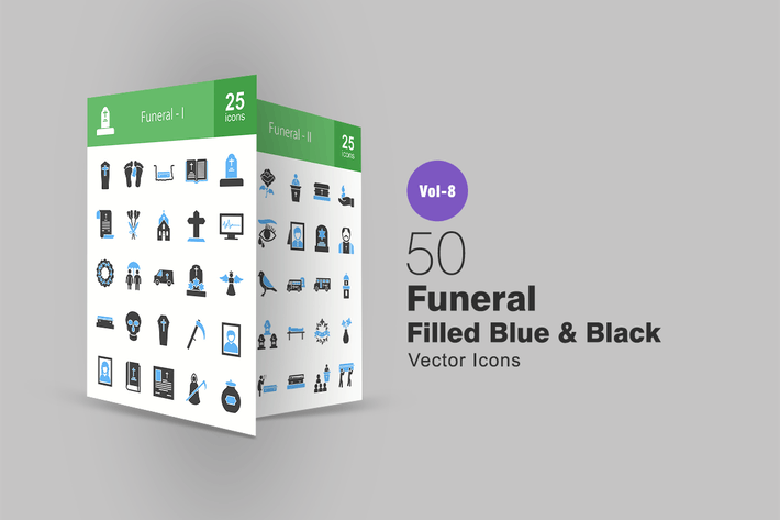 Cover Image For 50 Funeral Blue & Black Icons
