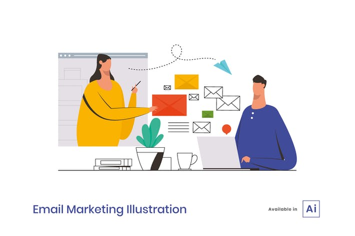 Thumbnail for Ilustración de Email Marketing