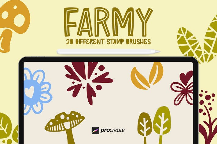 Thumbnail for Farmy - 20 Procreate Stamp Brush