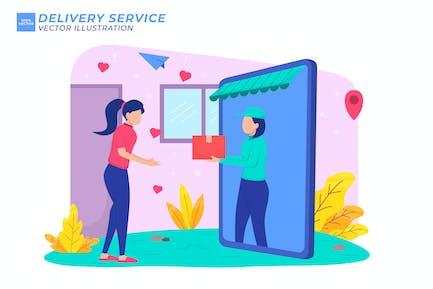 Delivery Service Flat Illustration