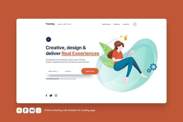 Thumbnail for Online marketing web template for Landing page