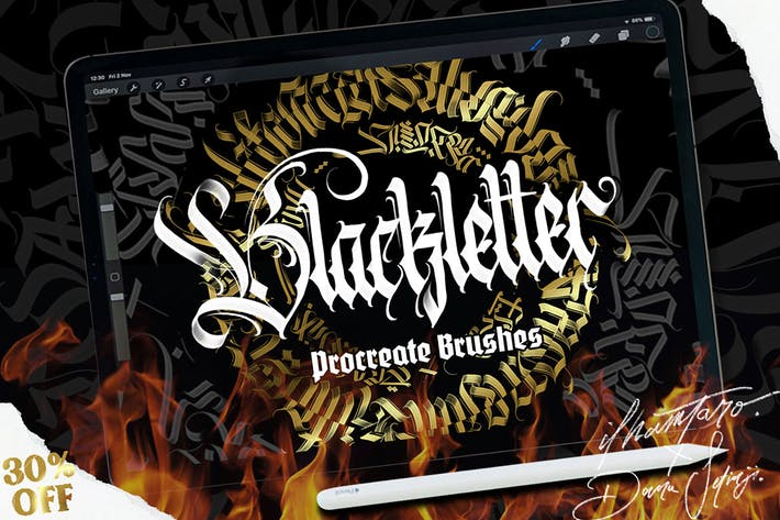 Thumbnail for Blackletter Brush for Procreate