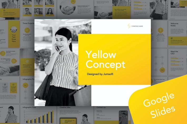 Thumbnail for Желтый Шаблон Google Слайды концепции