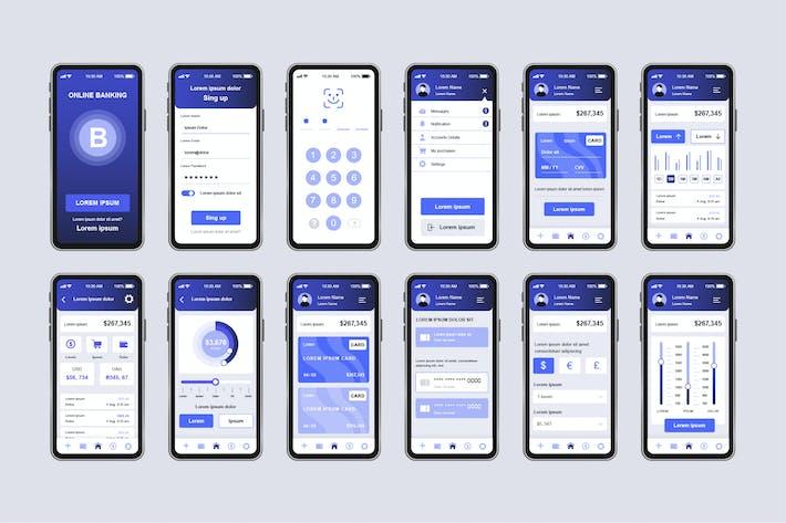 Thumbnail for GUI Layout Banking Unique Mobile App UI Kit