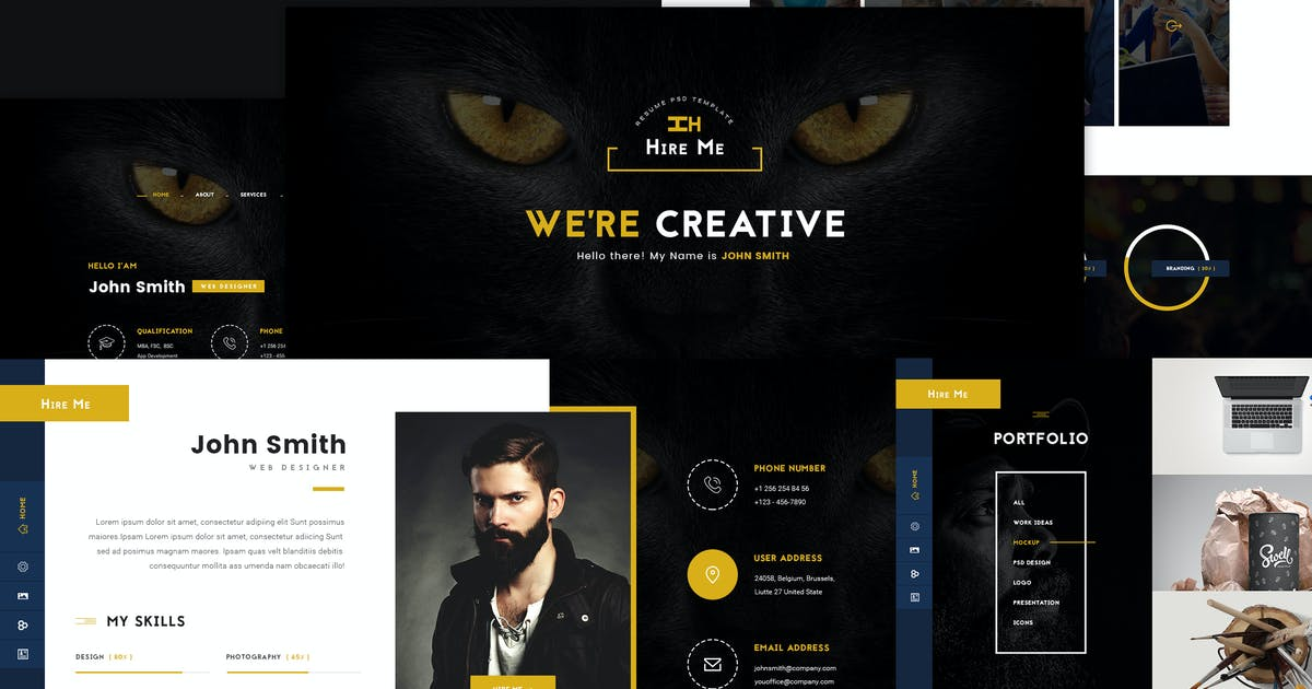 Download Hire Me - Personal vCard PSD Template by websroad